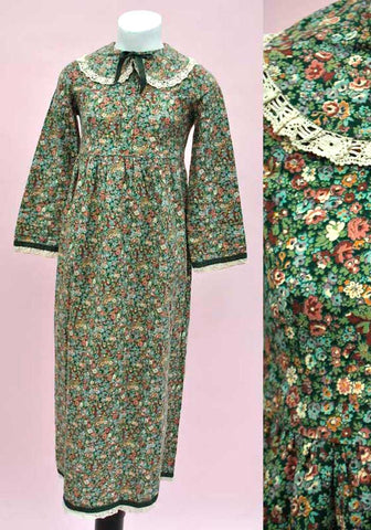 Vintage 70s Girl's Liberty Print Green Floral Maxi Dress • 70s Maxi • Anthea Proud • Cotton