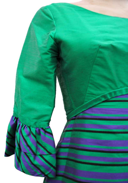 1960s Vintage Silk Green & Purple Striped Sharkskin Cocktail Dress