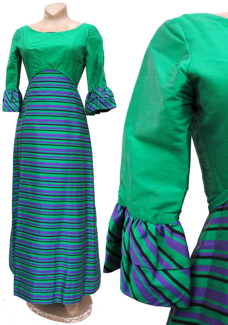 vintage 60s emerald green and violet stripey silk maxi evening dress