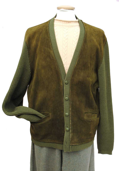 green suede front knitted jacket cardigan by glenhusky, 50s menswear