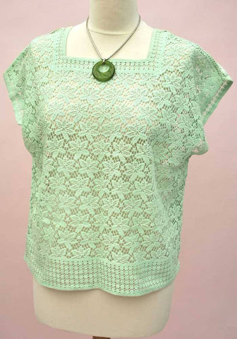 Vintage 60s Mint green lace tunic blouse top