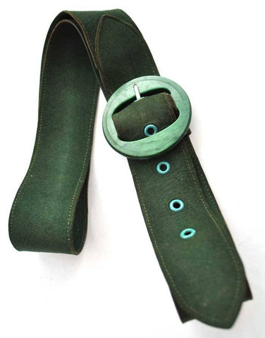Vintage 30s super soft green suede belt with galalith buckle