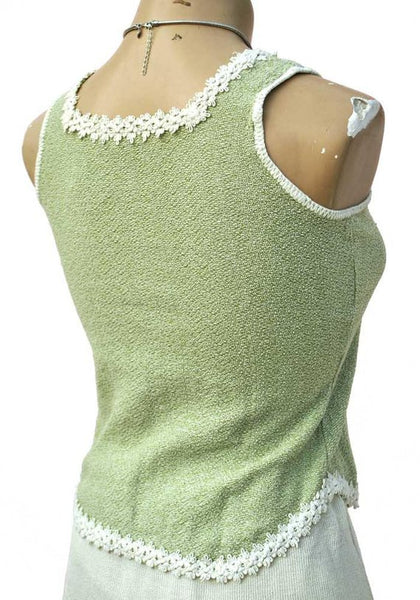 1970s Vintage Textured Green Tank Vest Top with Lace Edging