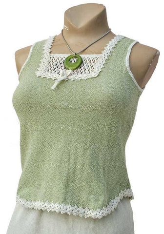 vintage 70s green vest top, textured tank top