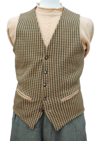 1950s Men's Vintage Machine Knit Waistcoat Vest • Green and Gold