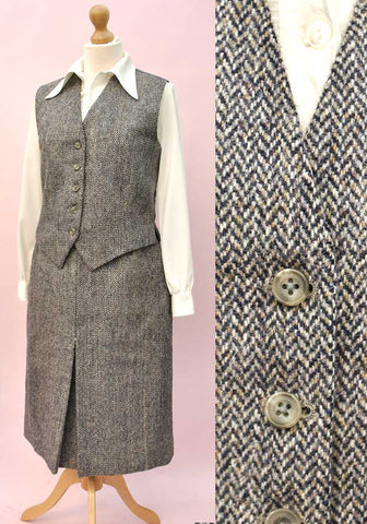 Women's Vintage Grey Herringbone Tweed Suit • Skirt & Waistcoat • Bespoke