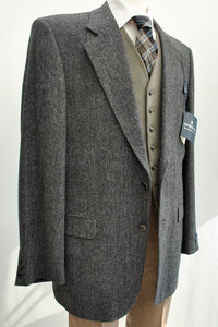 "Vintage Gurteen Grey Herringbone Tweed Blazer 40"" • BNWT"