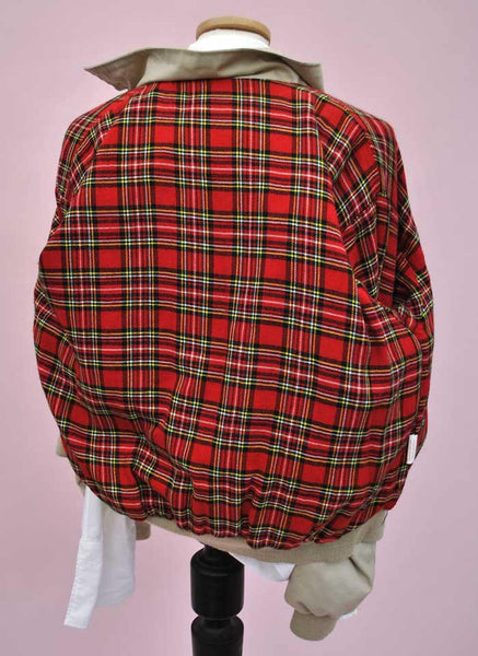 Vintage Mod Harrington Bomber Jacket • Tartan • Plaid Wool Lining