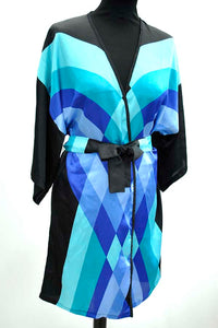 1970s Vintage Harrods Blue and Black Kimono Robe • Gottex