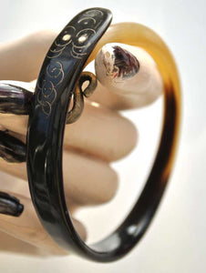 antique horn snake bracelet, flapper horn snake bangle