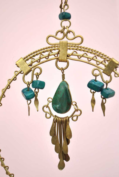 vintage turquoise brass hoop zuni earrings, large gypsy boho hooped earrings