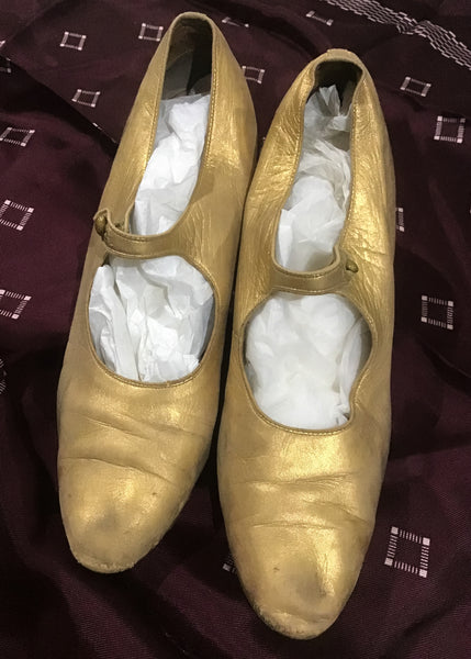 1920s Vintage Gold Leather Flapper Mary Jane Shoes • Louis Heel • size UK4.5