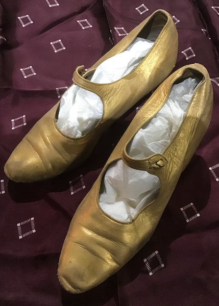 Genuine vintage 1920s gold mary janes shoes
