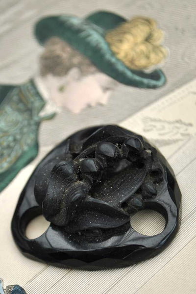 antique whitby jet pendant, necklace spacer with carved lily of the valley flowers