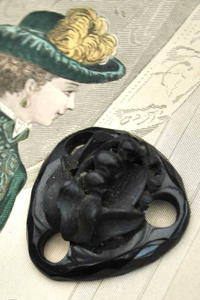 victorian jet mourning jewellery necklace spacer