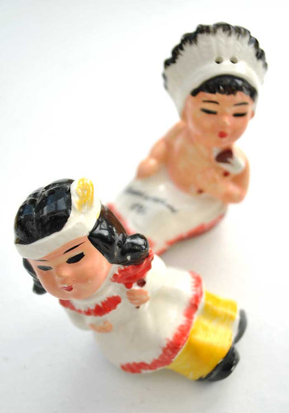 vintage kitsch salt and pepper native american