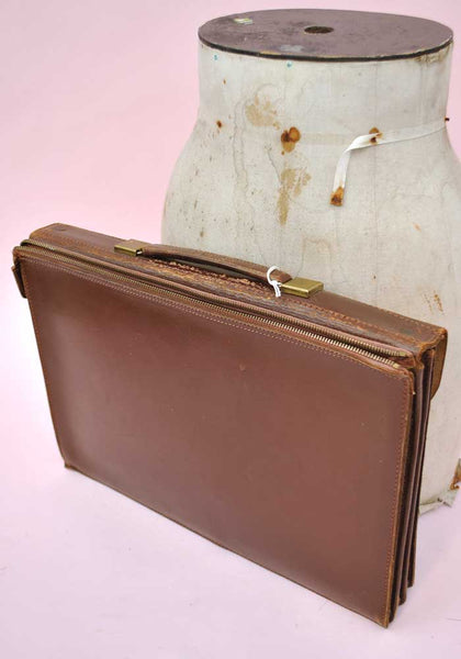 Vintage 50s Leather Briefcase Attache Satchel • Pakawa