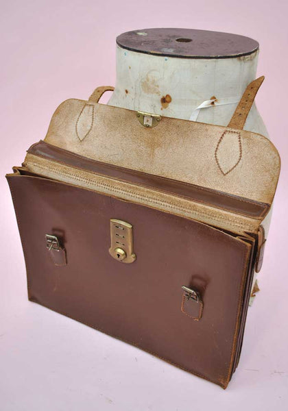 vintage old school leather attache case