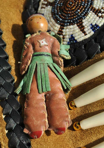 vintage 1930s leather and wood native american brooch