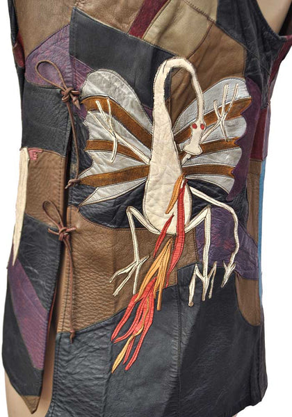 patchwork leather dragon with silver wings flames spitting