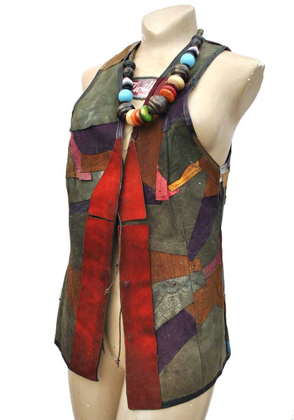 Amazing Vintage 60s Wizard Gandalf with Dragon Leather Patchwork Gilet • Suede Vest • Hippy • Magic • Druid