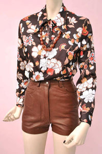vintage brown leather shorts