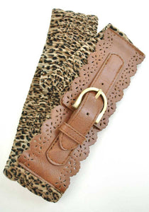 Retro rockabilly Leopard Print Cincher Belt
