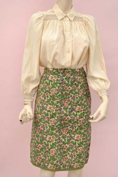 "1960s Vintage Liberty Print Quilted Pencil Skirt, Blackberry Print 26"" waist"