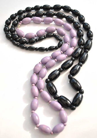 lilac dyed wood, black wooden bead necklace