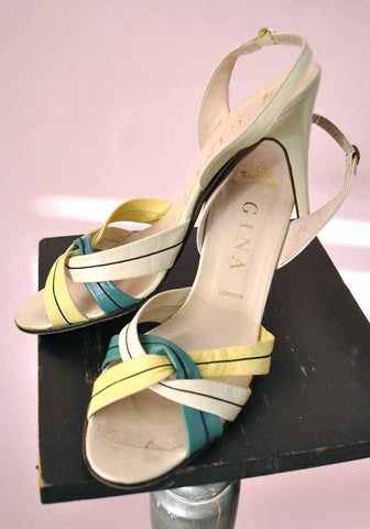 vintage gina strappy stiletto sandals in lime green
