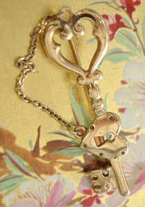 vintage lock and key brooch