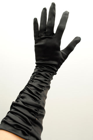 vintage black satin evening gloves
