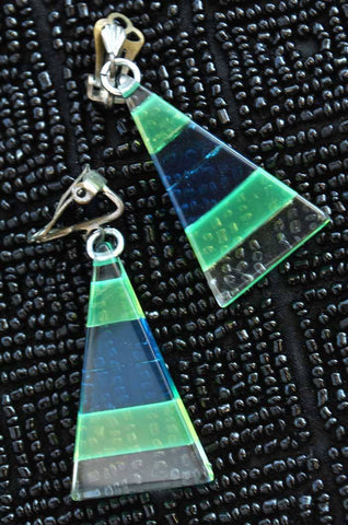 Vintage Dyed Lucite Triangle Clip Earrings • West Germany