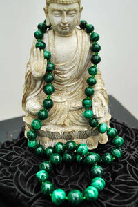 genuine vintage malachite beaded necklace