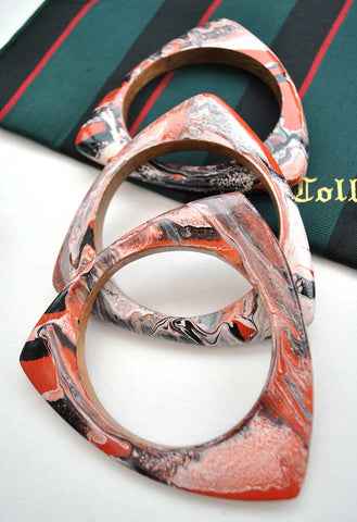 hand painted marbled triangle bangles