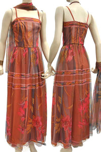 1960s copper chiffon evening gown XS, prom dress