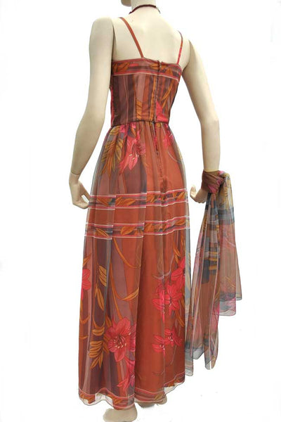 1960s Vintage Marian Russell Chiffon Evening Gown • XS • Psychedelic • Maxi Dress