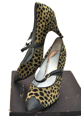 Vintage Mary Quant Velvet Leopard Print Stiletto Shoes • Designer Shoes