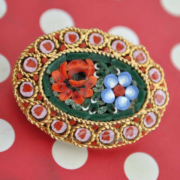 1970s Vintage Micro Mosaic Floral Brooch Pin