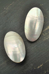 mother of pearl clip on oval earrings