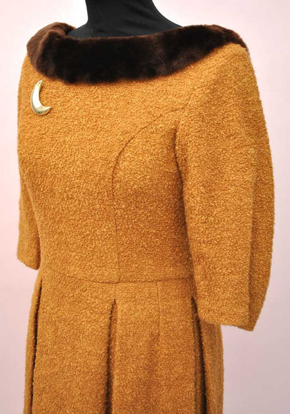 Vintage 50s Gold Mustard Boucle Faux Fur Trimmed Day Dress