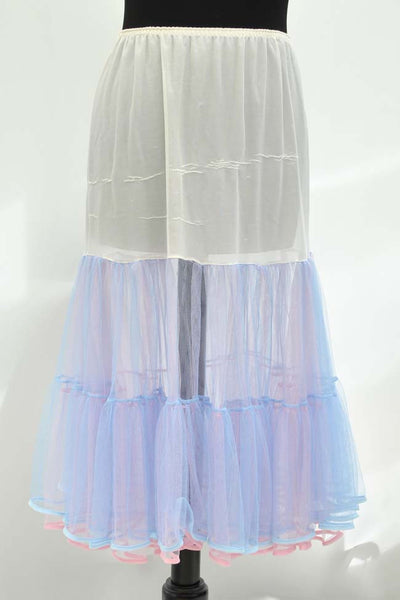 Vintage 60s Pink & Blue Net Layered Frilly Petticoat