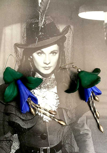 1980s Vintage Large Blue Narcissus Dangle Statement Earrings