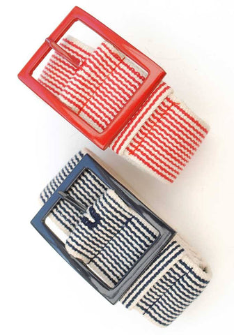 nautical striped canvas belt in either red or blue and white with enamel buckle