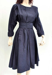 1980s Vintage Navy Blue Droopy & Browns Balloon Sleeve Dress • by Angela Holmes