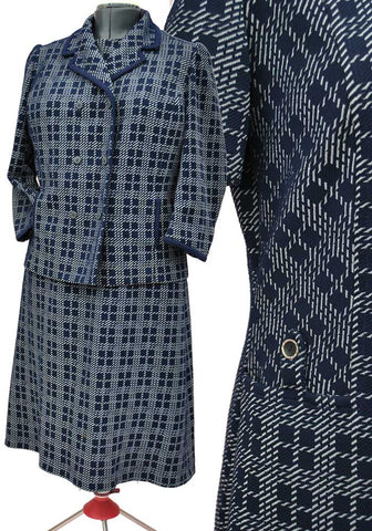 1960s Vintage Blue Plaid Crimpeline Dress Suit • Mother of the Bride