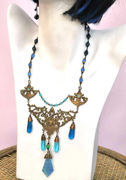 fabulous art nouveau blue bohemian czech glass necklace