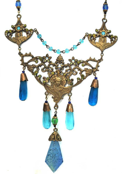 1900s Vintage Nouveau Blue Bohemian Czech Glass Necklace