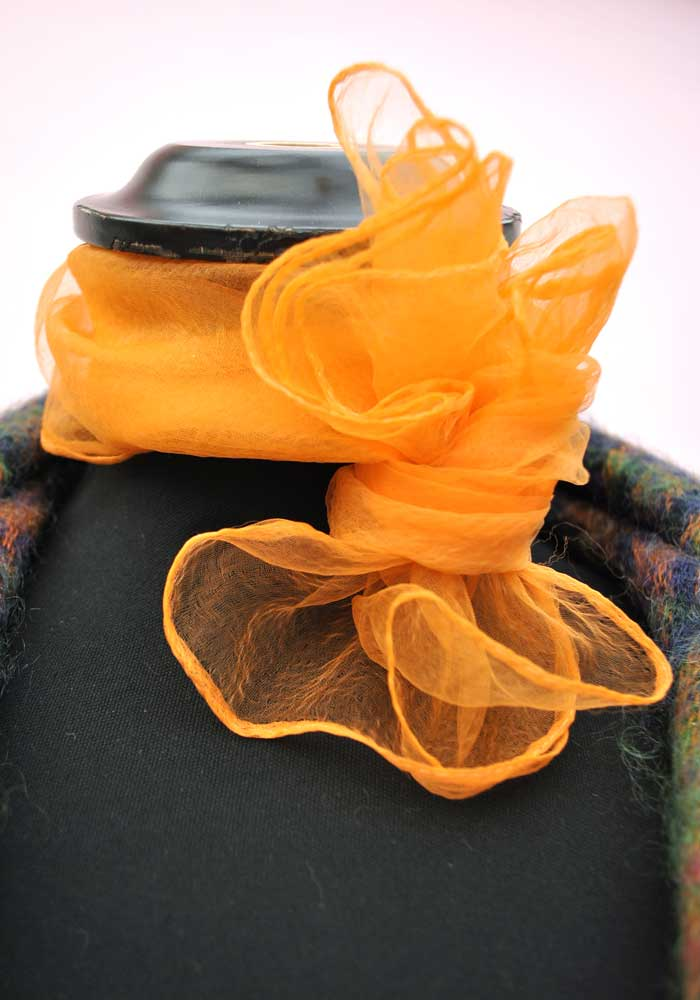 Orange Nylon Georgette Chiffon Neck Scarf • Rockabilly • Deadstock