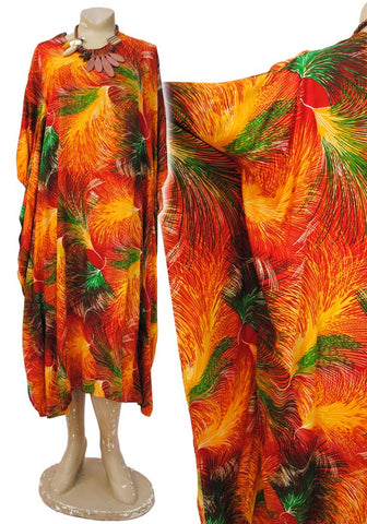 1970s Vintage Orange Rayon Jamaican Kaftan Dress